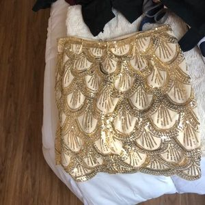 Sequin gold mini skirt!!